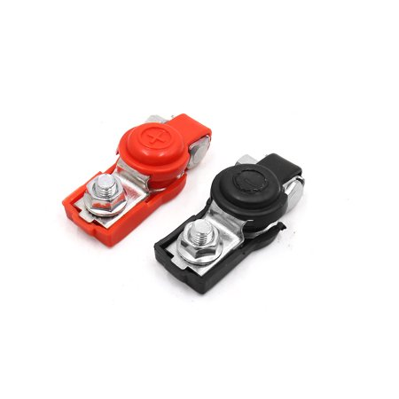 2 Pcs 6V 12V Rubber Cover Car Battery Positive Negative Terminal Clamp Connector