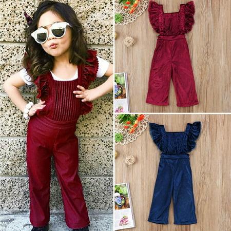 Fashion Toddler Kids Girls Velvet Bib Pants Backless Jumpsuit Outfit Clothes (Toddler Jumpsuit)