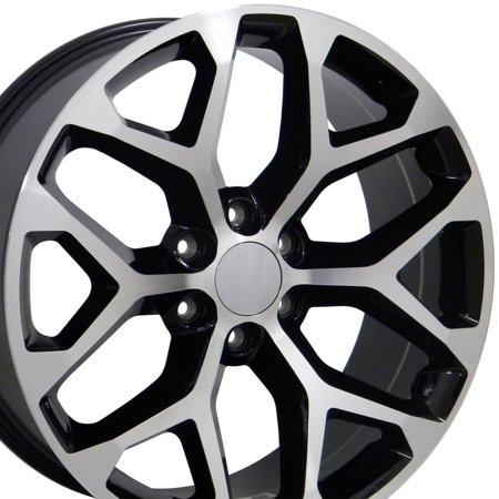 22x9 Wheel Fits GM Trucks and SUVs - GMC Sierra Style Black Rim with Machined Face, Hollander (Suv Black Machined)