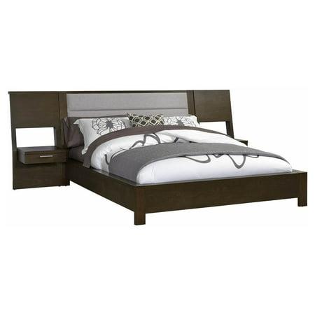 king uplholestered platform bed with nightstand. Black Bedroom Furniture Sets. Home Design Ideas
