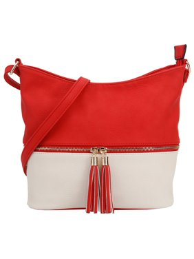 Deluxity Slouchy Tassel Crossbody Purse- Multi Color- Red/Ivory