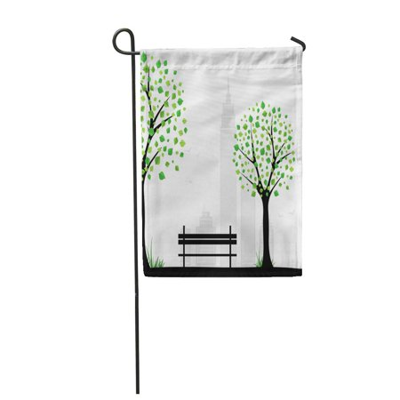 KDAGR Park City Theme Background with Abstract Tree Vector Bench Silhouette Garden Flag Decorative Flag House Banner 28x40
