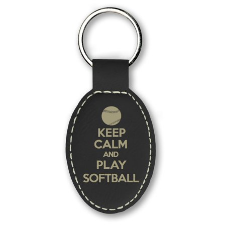 Keychain - Keep Calm and Play Softball (Black) - Softball Keychains