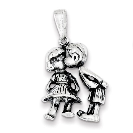 925 Sterling Silver Boy Kissing Girl Necklace Pendant Charm Kid Fine Jewelry For Women Valentines Day Gifts For Her - image 6 of 6