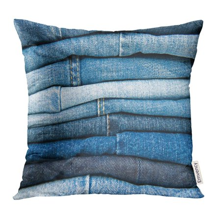 CMFUN Navy Bluejeans Stack of Blue Jeans Bottoms Pillow Case 18x18 Inches Pillowcase