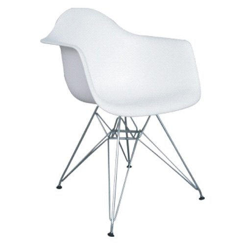 Fine Mod Wire Leg Dining Armchair with White Molded Plastic Seat by I and L Distributing Inc