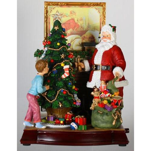 """12"""" Animated and Musical Santa Claus with Christmas Tree and Fireplace Music Box"""