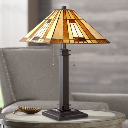 Robert Louis Tiffany Mission Accent Table Lamp Bronze Amber Art Glass Shade for Living Room Family Bedroom Bedside Nightstand