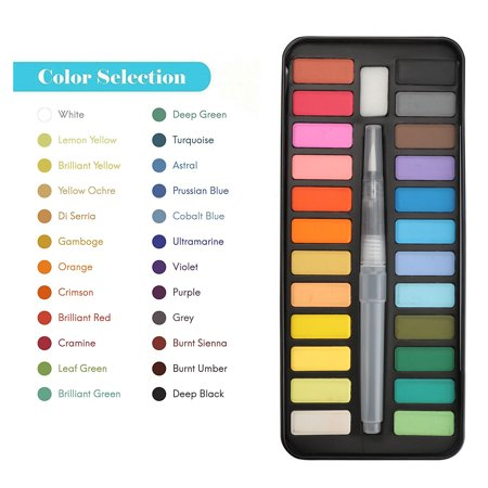 TSV Watercolor Paint Essential Set - 24 Vibrant Colors - Lightweight and Portable - Perfect for Budding Hobbyists and Professional Artists - Paintbrush Included