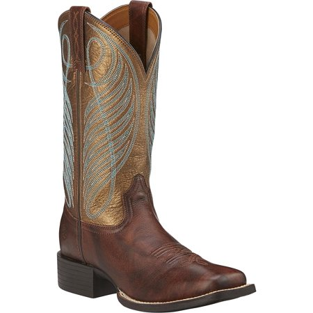 "Ariat 10016317 Round Up Wide Square Toe 11"" Pull On Cowboy Boot"