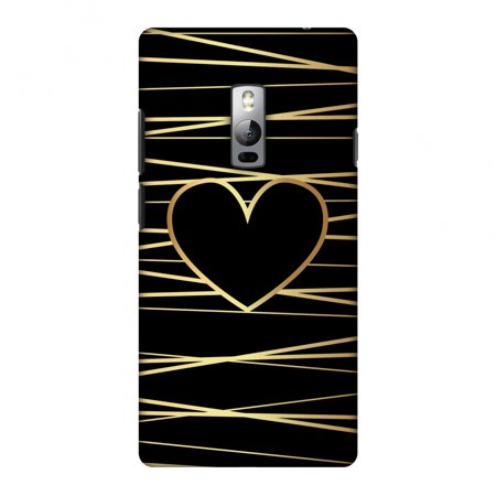 OnePlus 2 Case, Premium Handcrafted Printed Designer Hard Snap On Case Back Cover for OnePlus 2 - Golden Heart Ribbon Two Hearts Snap