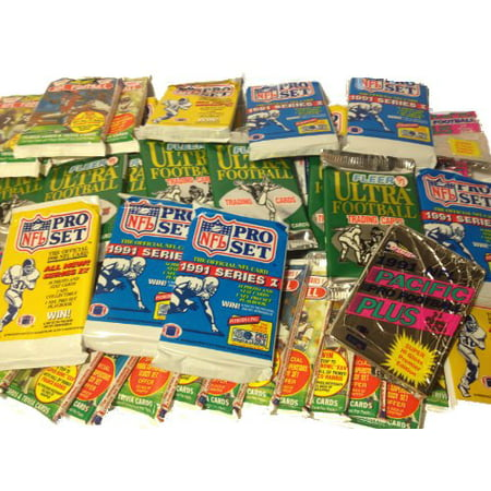 100 Vintage Football Cards in Old Sealed Wax Packs - Perfect for New -