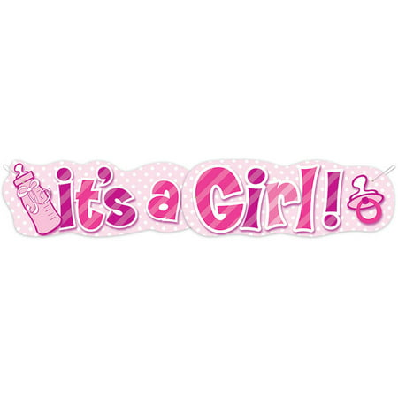Paper It's a Girl Baby Shower Banner, 4.5 ft, Pink, - Owl Baby Shower Banner
