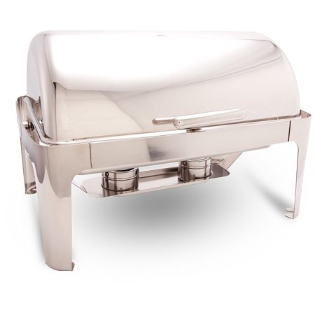 ProstoWare PWR-1RE Full-size Roll-Top Chafer w/ Cover Holder, Stainless Steel Chafing Dish for Catering