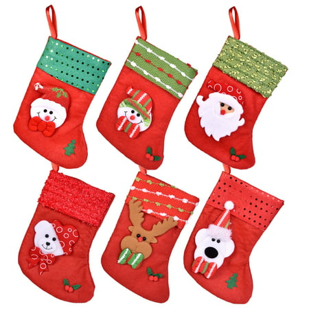 6Pcs Christmas Socks Set for Christmas Decorations, Kids Christmas Presents, Party Favors and More