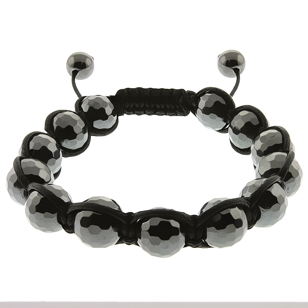 Hot Genuine 10mm Faceted Black Hematite Adjustable Bracelet