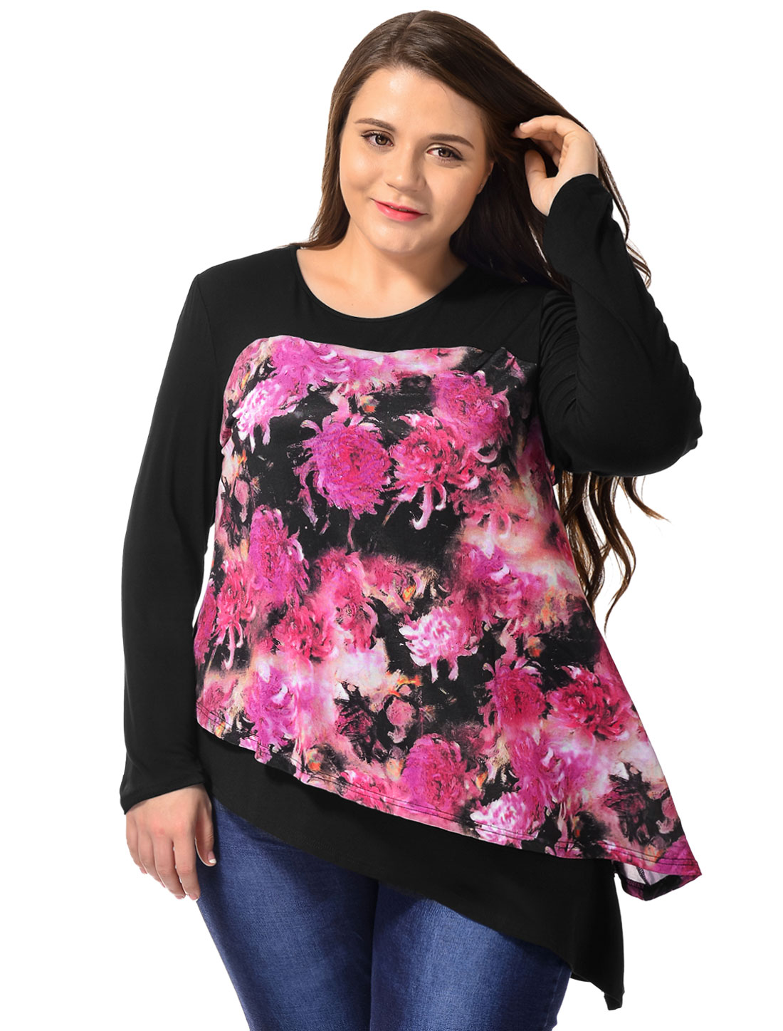Unique Bargains Women's Plus Size Floral Prints Asymmetric Hem Layered Tunic Top Black (Size 1X)