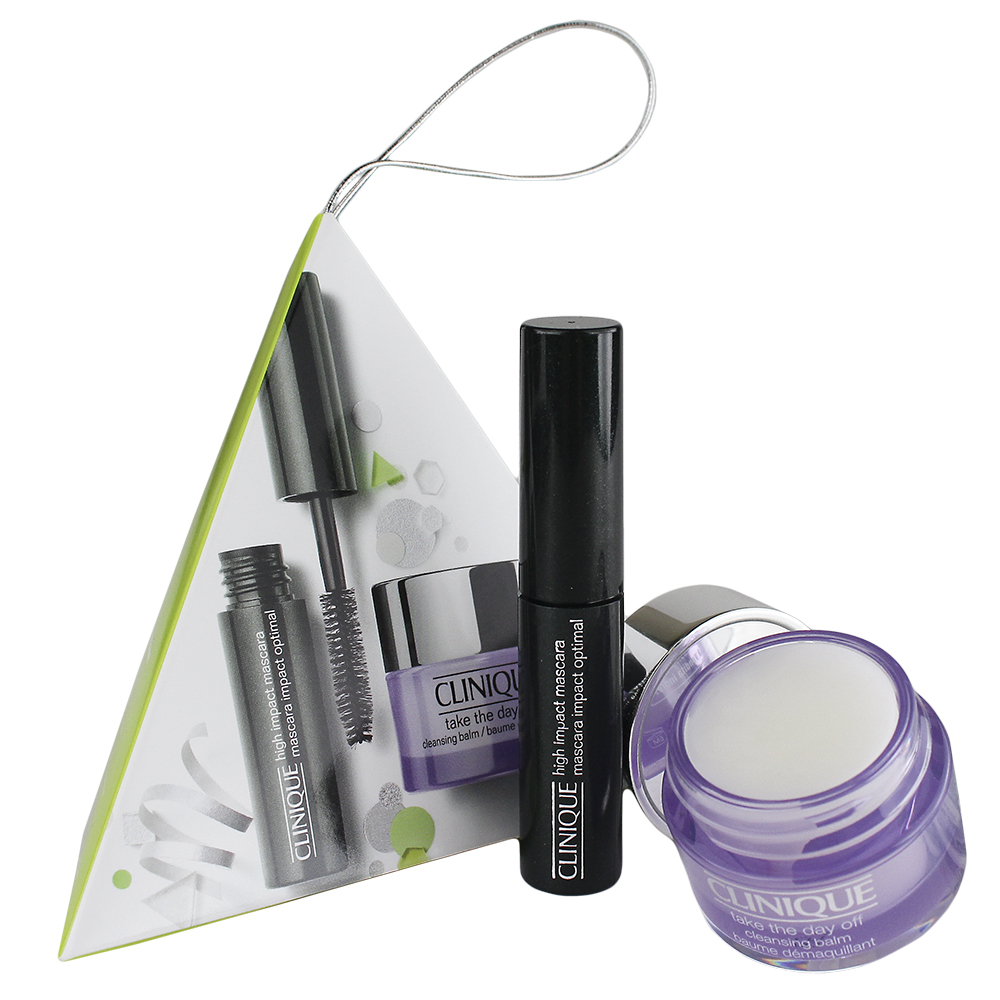 Clinique High Impact Mascara and Take The Day Off Balm Travel Ornament Set