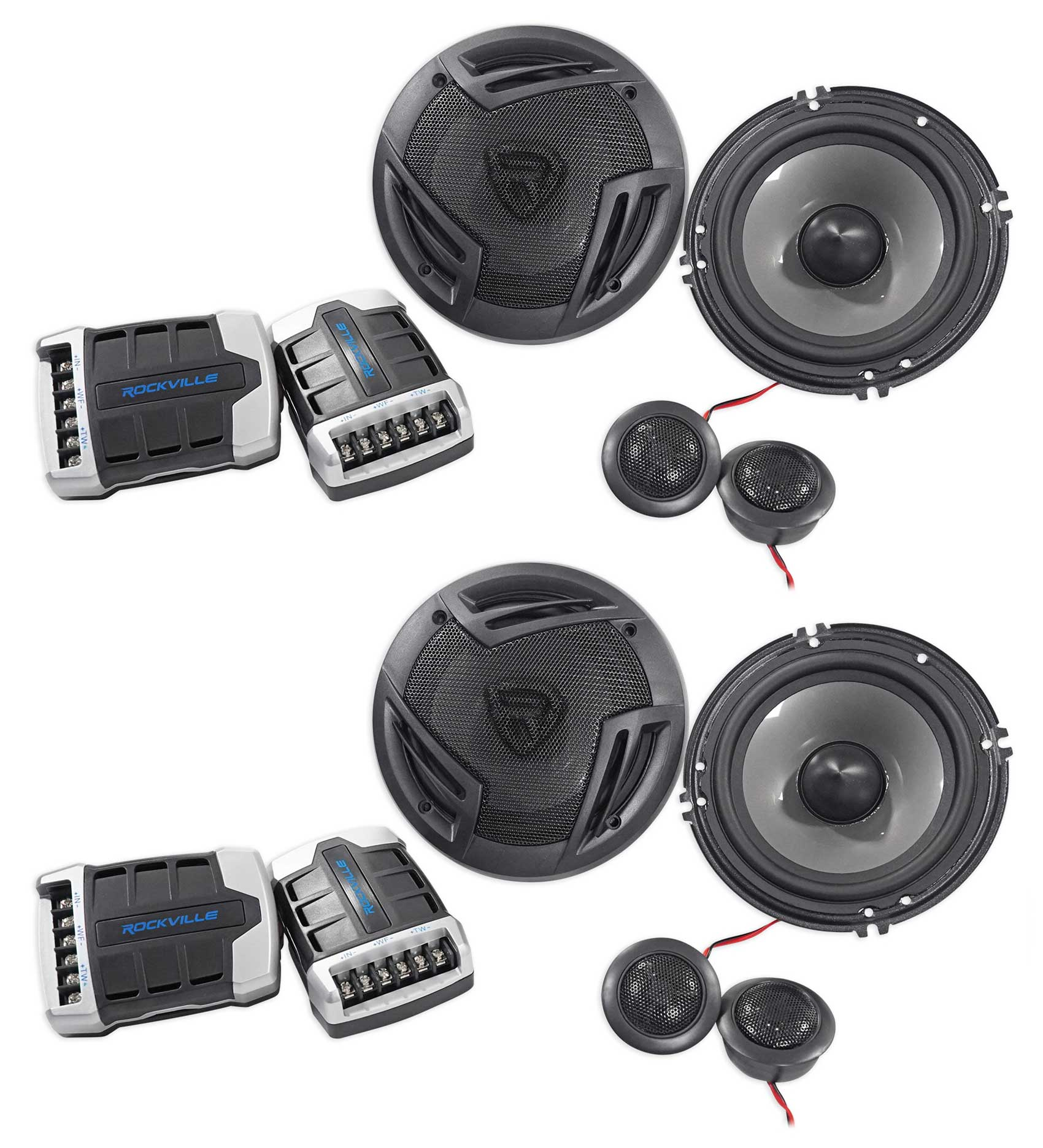 """(2) Pairs Rockville RV65.2C 6.5"""" Component Car Speakers 1500w/280w RMS CEA Rated"""