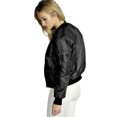 Black Solid Color Fashion Women Bomber Jacket Basic Coats Zipper Short Baseball Jacket Jacket