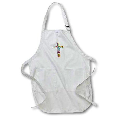 3dRose Floral Christian Cross. colorful girly flower pattern religious symbol - Medium Length Apron, 22 by 24-inch, With Pouch Pockets