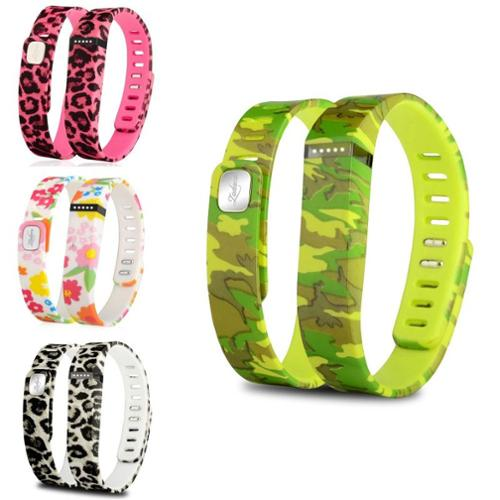Zodaca 4 pcs Large TPU Replacement Band Wristband w/ Clasp for Fitbit Flex Bracelet Camo+Flower+(Pink/Brown) Leopard