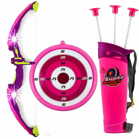 Toysery Kids Toy Bow & Arrow Archery Set with Arrow Holder with Target Stand - LED Light Up Function - Hunting Series Toy for Girls, Pink - Children's Bow And Arrow