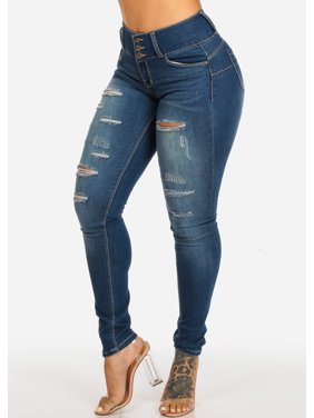d9ca2726ecba3b Product Image Womens Juniors Butt Lifting Mid Rise Med Wash 3 Button  Distressed Skinny Jeans 10880R