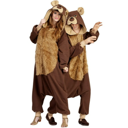 Adult Hooded Furry Brown Bear Costume - Size 47