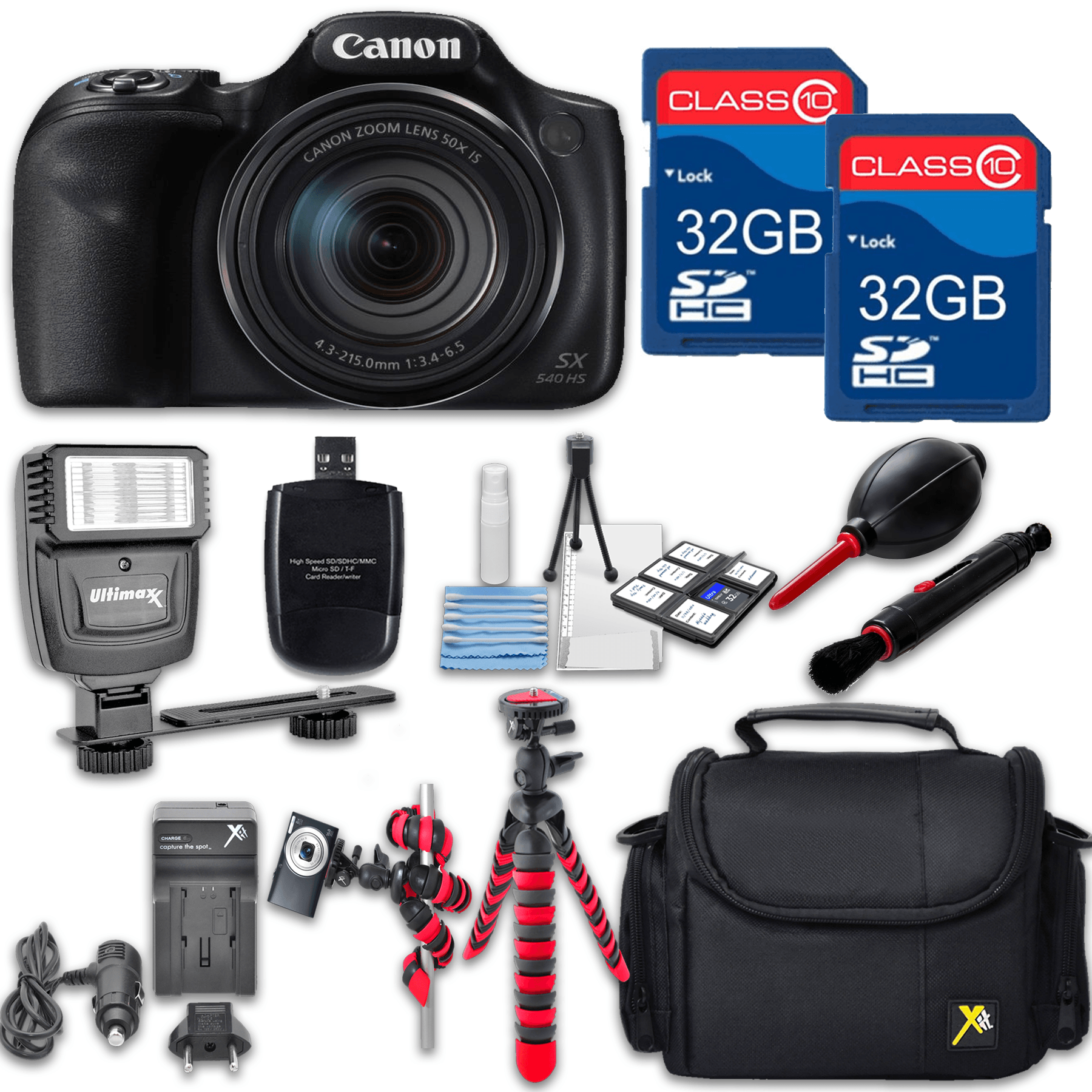 Canon Powershot SX540 (Black) HS Point and Shoot Digital Camera, W/ Case + 64GB Memory + Flash + Tripod + Case + Cleaning Kit + More