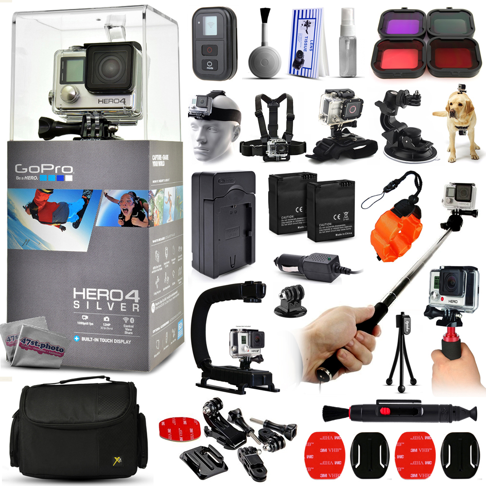 Buy GoPro Hero 4 HERO4 Silver Edition CHDHY-401 with Scuba and Snow Filter + WiFI Remote + Selfie Stick + Action Stabilizer... by GoPro
