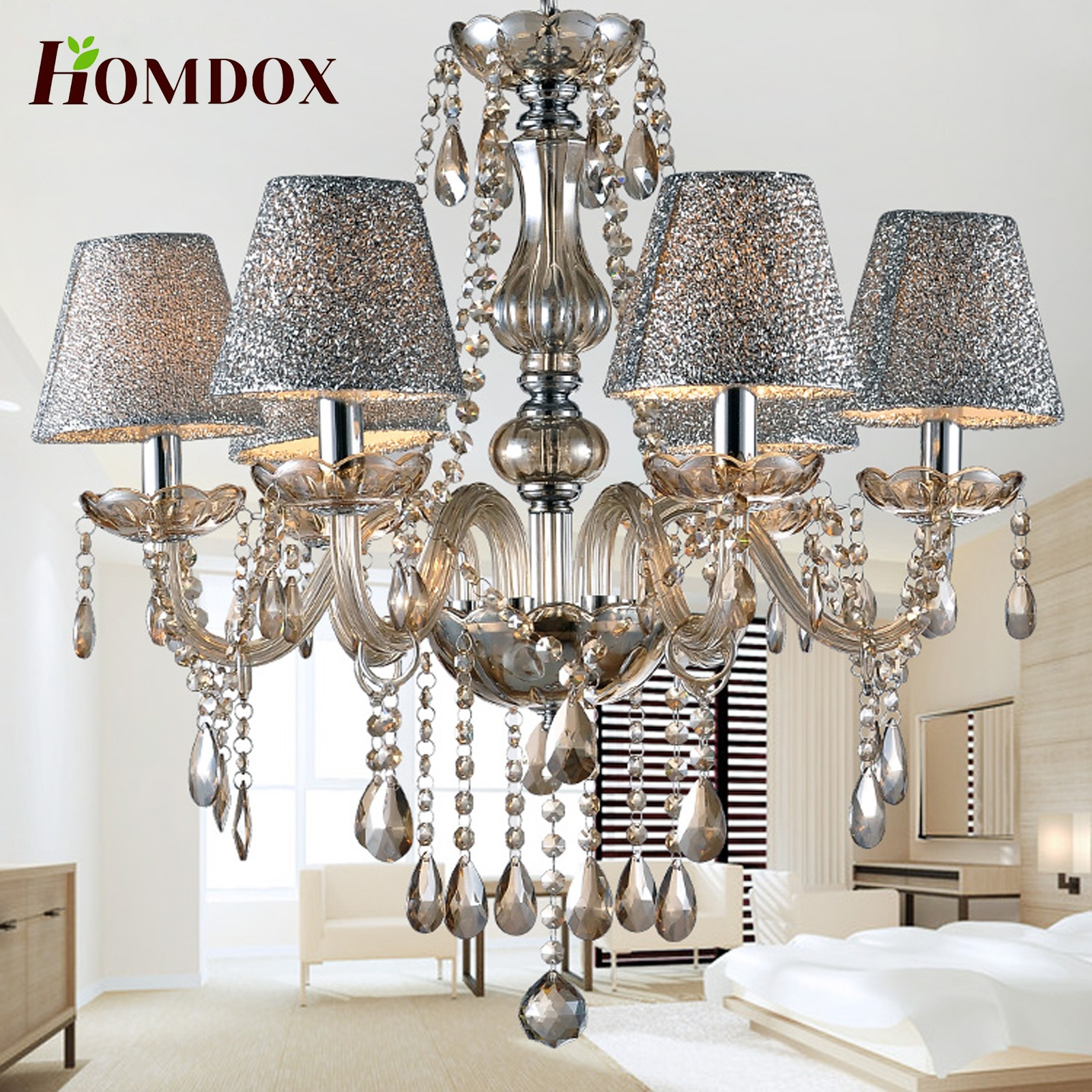 Homdox Crystal Lamp 6 Lights Ceiling Chain Lamp Chandelier by