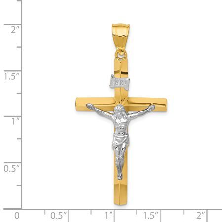 14k Yellow and White Gold Two-tone INRI Hollow Crucifix Pendant Length 53mm - image 1 de 2