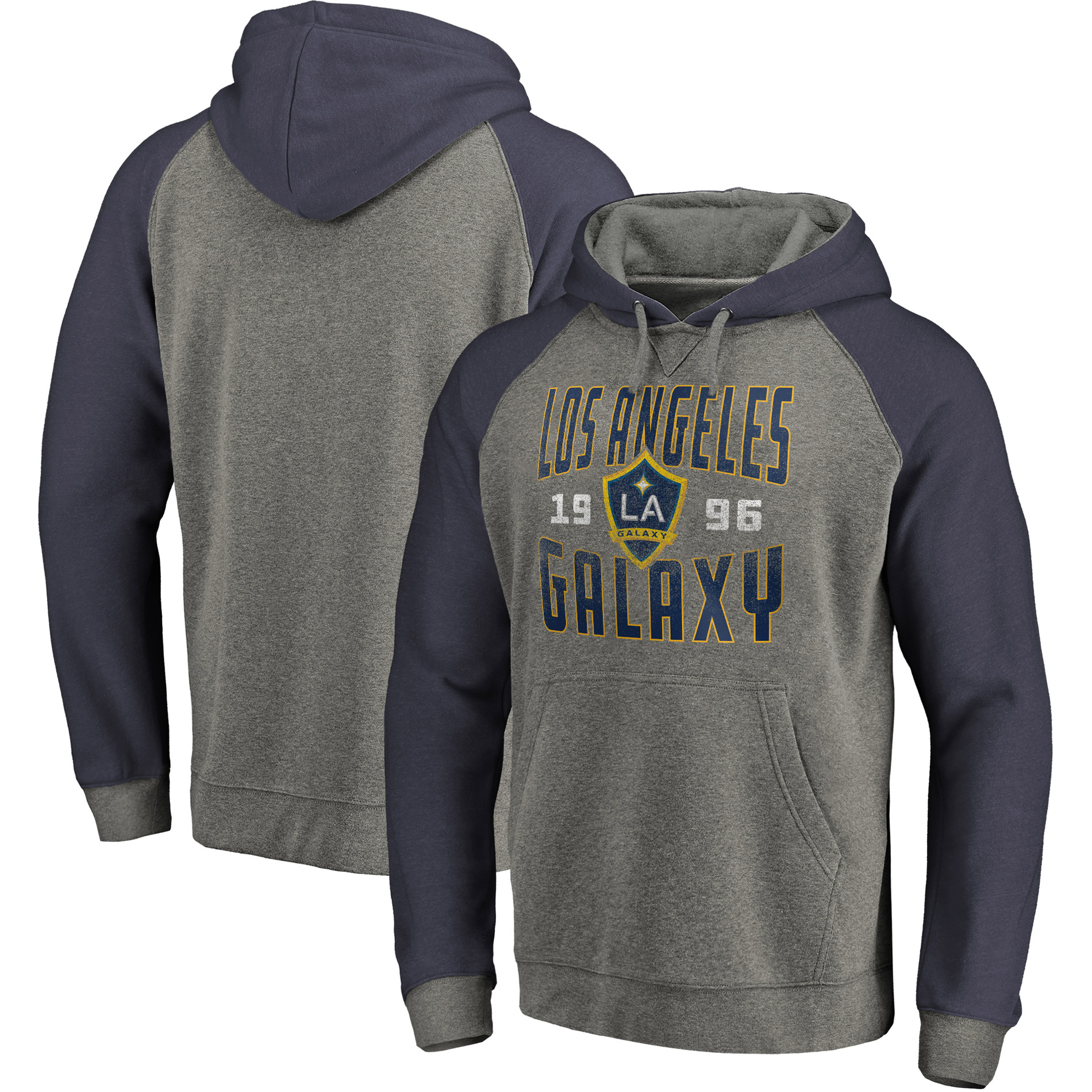 LA Galaxy Fanatics Branded Antique Stack Tri-Blend Pullover Hoodie - Heathered Gray/Navy