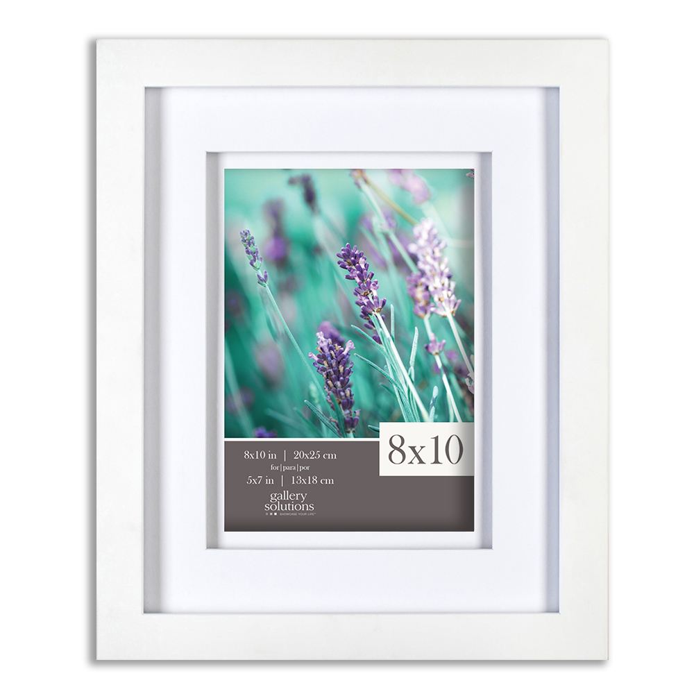 Gallery Solutions 8x10 White Wood Frame With Double White Mat For