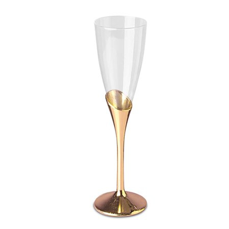 """9 """" Gold Fancy Plastic Champagne Flute (12/Pack) by Paper Mart"""