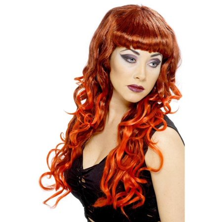 Long Curly Red & Black Siren Costume Wig One - Cheap Red Wig