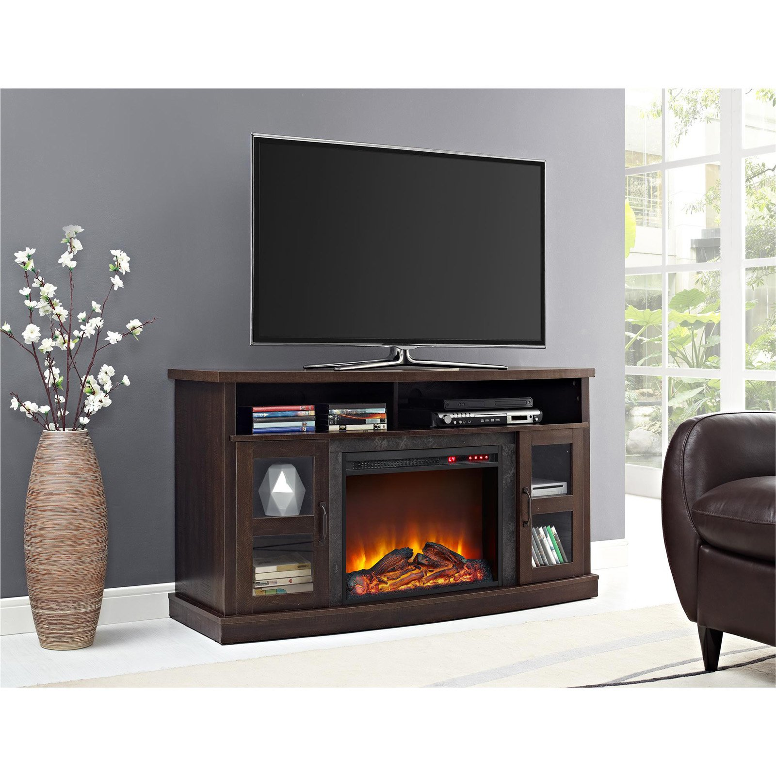 Ameriwood Home Barrow Creek Fireplace Console with Glass Doors for TVs up to 60""