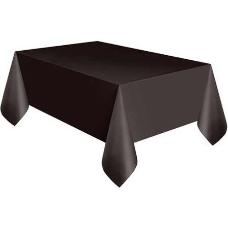 (2 Pack) Unique Plastic Tablecloth, 108 x 54 in, Black, 1ct