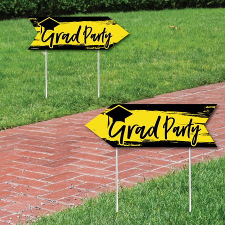 Yellow Grad - Best is Yet to Come - Yellow Graduation Party Sign Arrow - Double Sided Directional Yard Signs - Set of