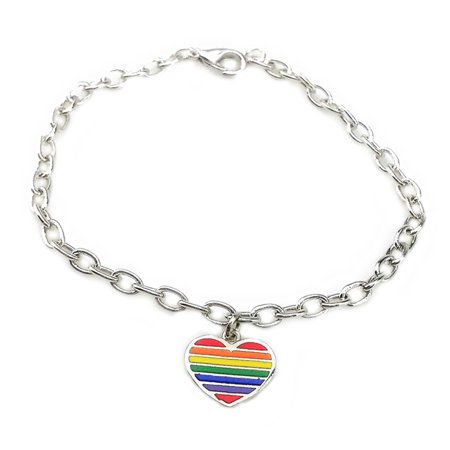 bracelet, Same-sex jewelry rainbow colorful heart-shaped bracelets same-sex jewelry Epoxy rainbow same sex bracelet, Silver