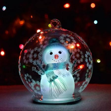 *New* GlowCity LED Color Changing Snowman Glass Globe Ornament (Globe Ornament)