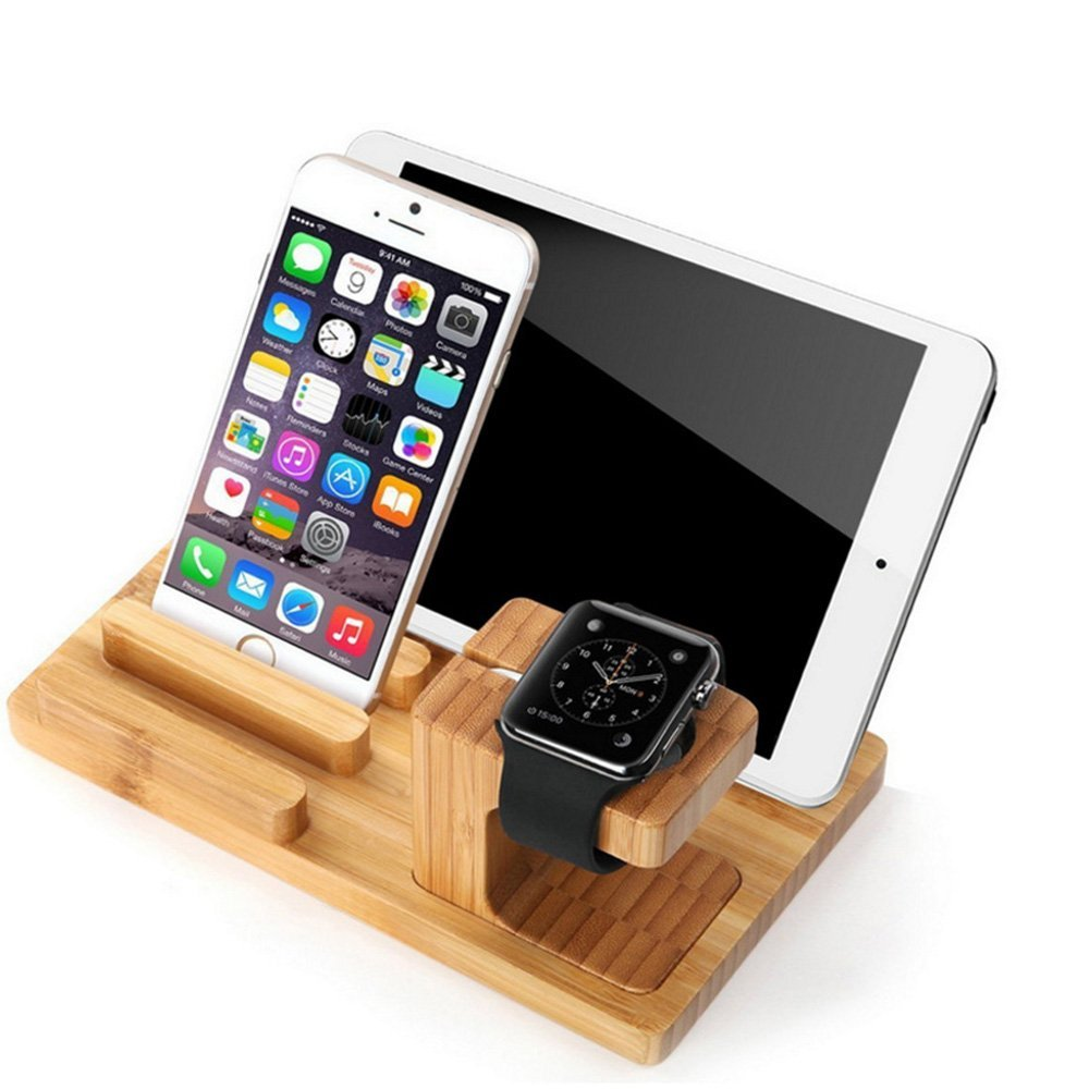 Apple Watch Series 2/1 Stand, Mignova Bamboo C harging Dock Station Cradle Holder for Ip ad iWatch Series 12 38mm 42mm & iPhones 6 7