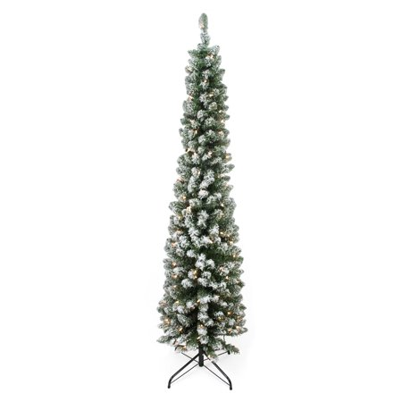 low priced b9bd9 c4239 Northlight 6 ft. Traditional Green Pine Pre-lit Flocked Pencil Christmas  Tree