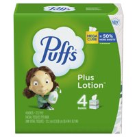 Puffs Plus Lotion Facial Tissue, 4 Mega Cube Boxes, 72 Facial Tissues Per Cube