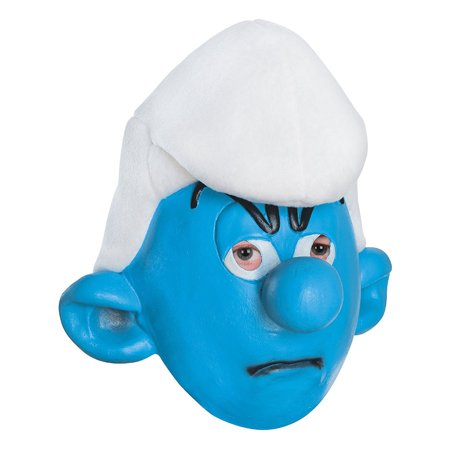 Adult's Mens Smurfs The Lost Village Grouchy Mask Costume Accessory (Smurf Mask)