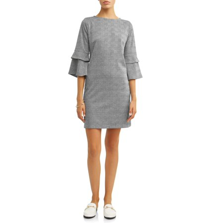 Batwing Knitted Dress - MIK Women's Plaid Knit Dress with Ruffle Sleeves