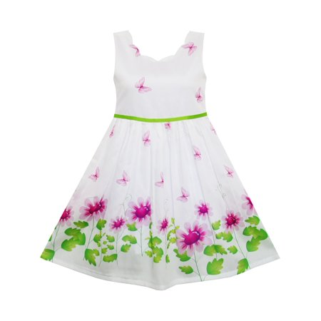 Girls Dress Purple Sunflower Green Leaves Butterfly 4