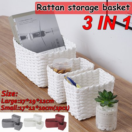 Set of 3 Woven Basket Set, Rattan Storage Box Stackable Storage Organizer Bins Drawers for Laundry Toys Snacks ()