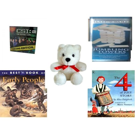 Children's Gift Bundle [5 Piece] -  CSI: Crime Scene Investigation Encore Edition The Board  - Solid Wood Jumbling Tower In A Tin  - White Teddy Bear Red Ribbon  5